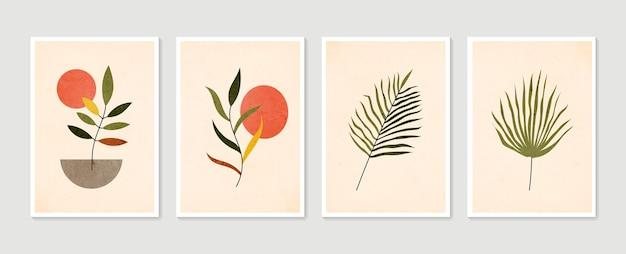 Set di arte della parete botanica. arte della parete minimal e naturale. collezione di manifesti d'arte contemporanea. pianta astratta arte.