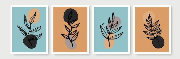 Insieme botanico di vettore di arte della parete. tono della terra boho fogliame linea arte disegno con forma astratta. abstract plant art design per stampa, copertina, carta da parati, arte murale minimale e naturale