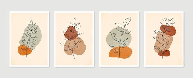 Insieme di vettore di arte della parete botanica. arte della parete minimal e naturale.