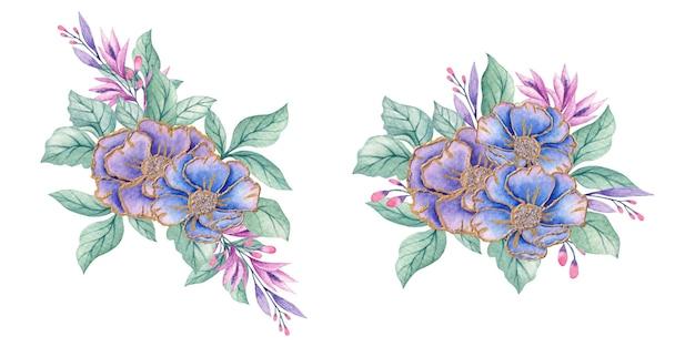 Bouquet di fiori eleganti dell'acquerello botanico