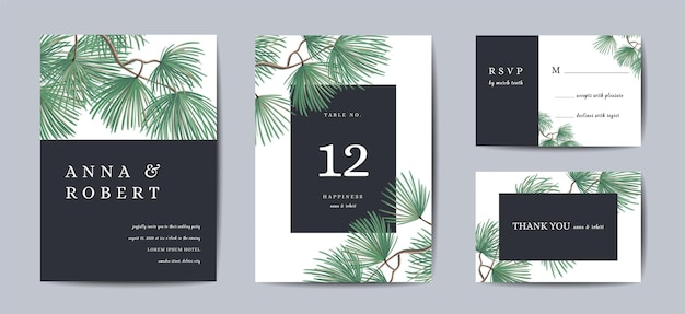 Biglietto d'invito matrimonio botanico modello design, albero di pino con lamina d'oro, auguri di natale, raccolta di save the date, rsvp in vettoriale