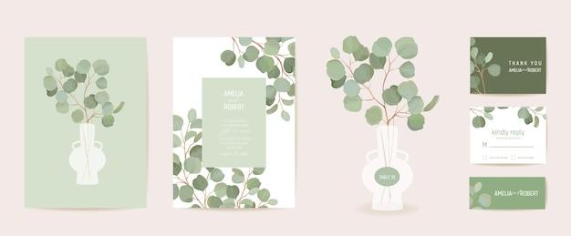 Progettazione botanica del modello della carta dell'invito di nozze, insieme della struttura del verde delle foglie tropicali. eucalipto, foglie verdi rami acquerello vettore minimo. save the date poster moderno, sfondo di lusso alla moda