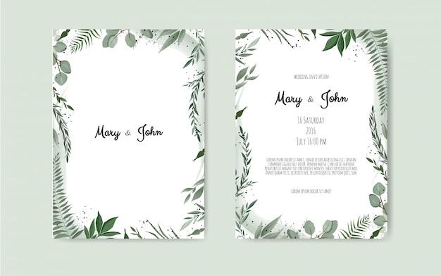 Scheda dell'invito di nozze botanica