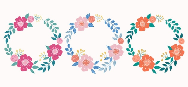 Corona botanica con fiori e foglie