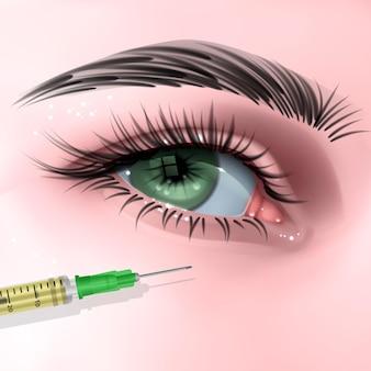 Trattamento delle rughe del viso di donna iniezione di botox