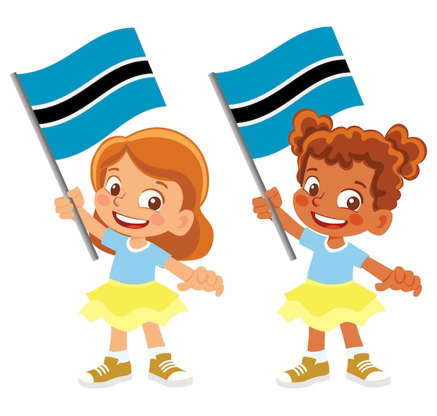 Bandiera del botswana in mano insieme