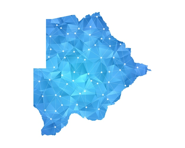 Botswana mappa linea punti geometrici astratti poligonali.