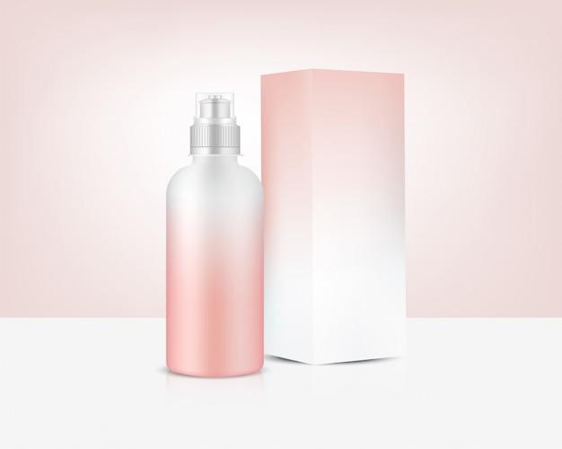 Bottiglia 3d mockup realistico rose gold plastic shaker con scatola in vettoriale per acqua e bevande. bicicletta e sport concept design.