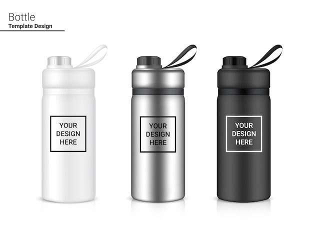 Bottiglia 3d realistic plastic shaker. concept design di biciclette e sport. Vettore Premium