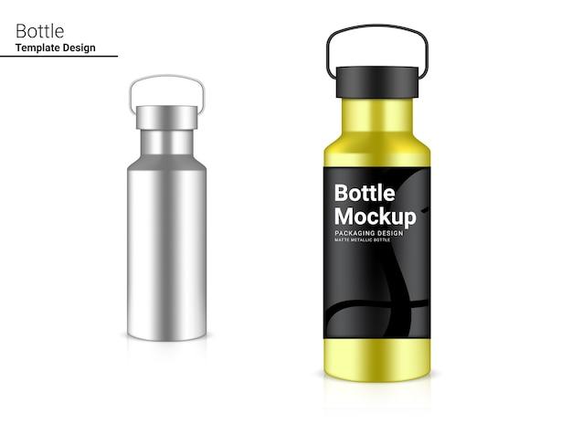 Bottiglia 3d realistic plastic shaker per acqua e bevande. concept design di biciclette e sport.