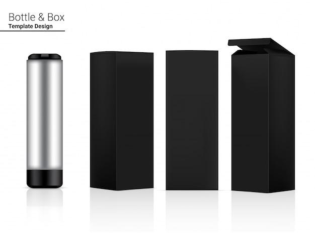 Bottiglia shaker di plastica realistico 3d con scatola per acqua e bevande. bicicletta e sport concept design.