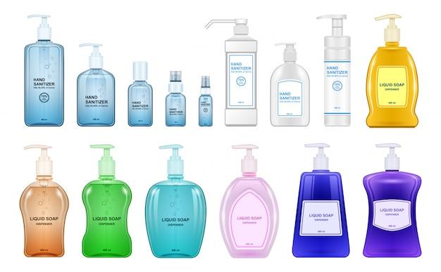 Icona set realistico antisettico di bottiglia. illustrazione disinfettante su sfondo bianco. bottiglia realistica isolata dell'icona dell'insieme antisettico.
