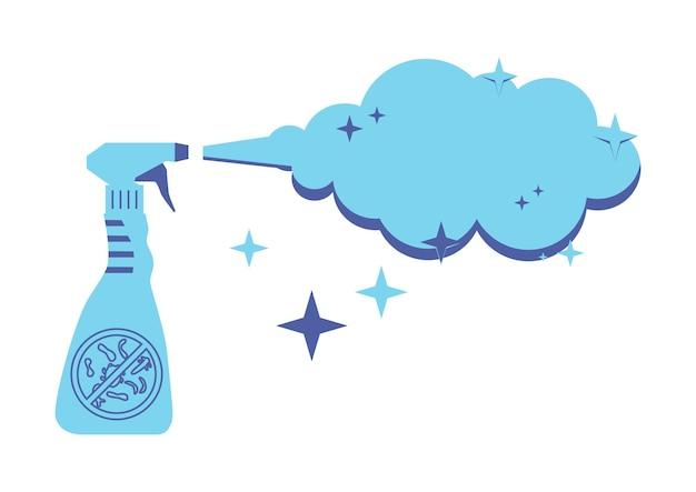 Flacone di spray antisettico concetto disinfettante disinfezione di tutte le superfici e dei locali