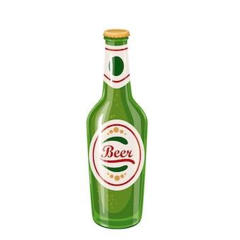 Bottiglia di birra. bevanda alcolica tradizionale del festival della birra oktoberfest. illustrazione vettoriale in stile cartone animato.