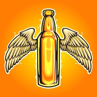 Illustrazioni della mascotte delle ali della birra della bottiglia