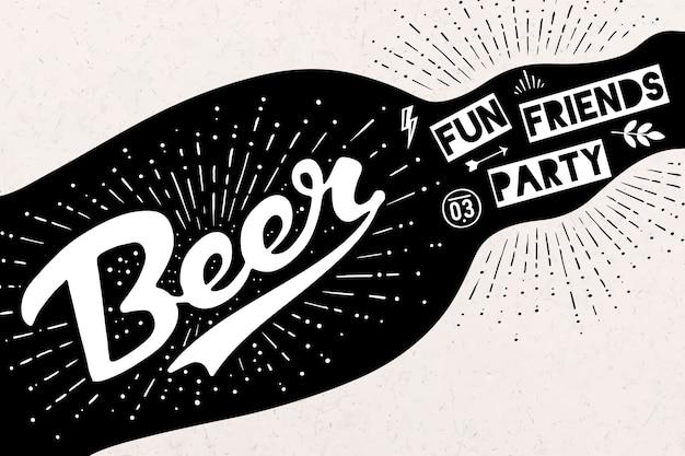 Bottiglia di birra con scritte disegnate a mano e testo birra