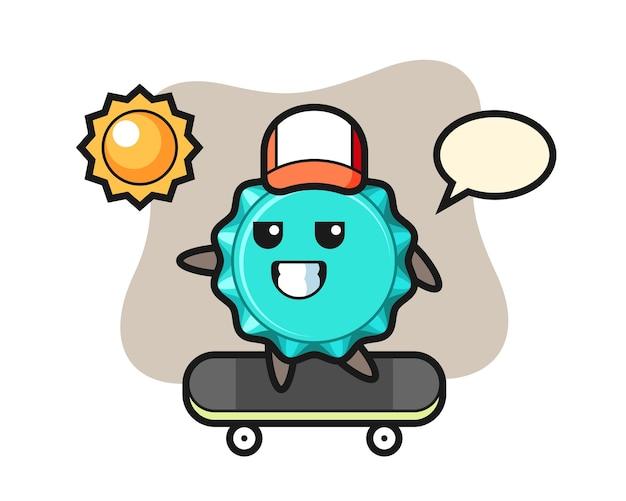Il personaggio del tappo di bottiglia cavalca uno skateboard