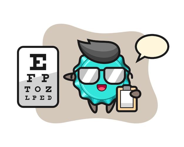 Mascotte del tappo di bottiglia come oftalmologia