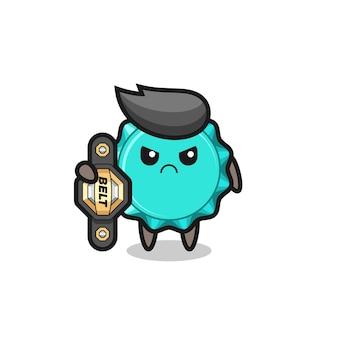 Personaggio mascotte del tappo di bottiglia come combattente mma con la cintura del campione, design in stile carino per t-shirt, adesivo, elemento logo