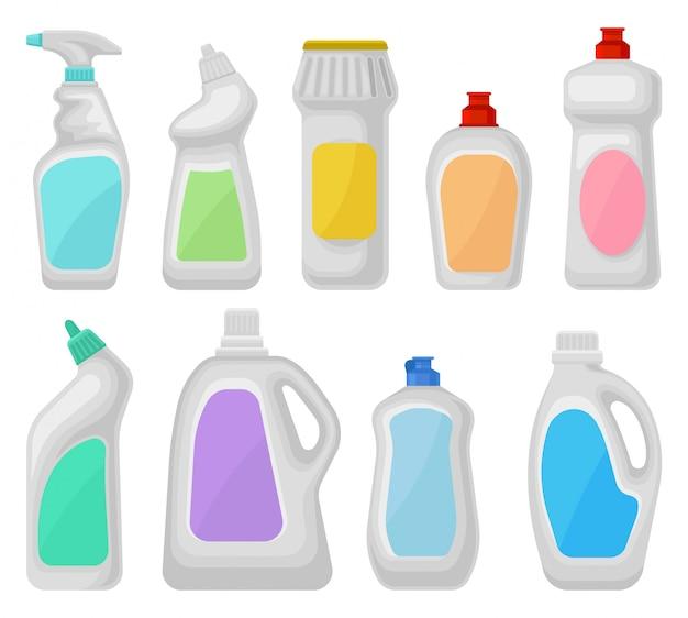Bottiglia di detersivi set, contenitori per prodotti chimici per la pulizia domestica illustrazioni su uno sfondo bianco