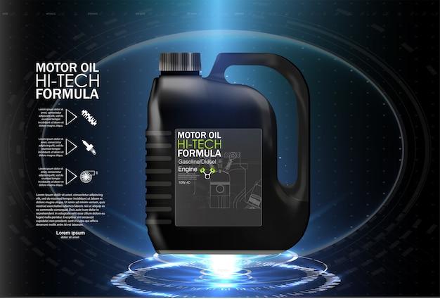 Illustrazione di sfondo olio motore bottiglia