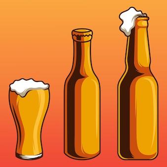 Insieme di vettore di bottiglia e bicchiere di birra raccolta in oggetti separati bundle vector