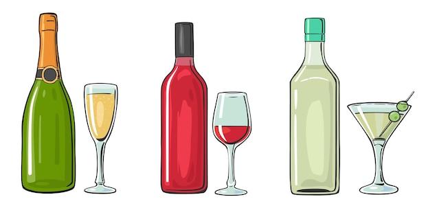 Bottiglia e bicchiere da cocktail liquore vino champagne colore vettoriale piatto