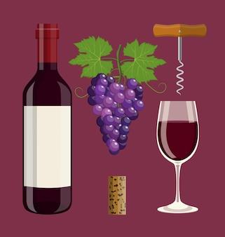 Bottiglia, bicchiere di vino, sughero, cavatappi, uva.