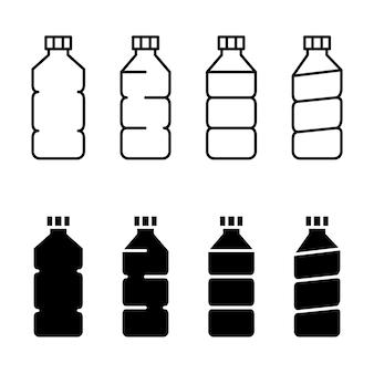 Set di icone di bottiglia. icone di contorno e glifo di bottiglie di plastica. tratto modificabile. vettore