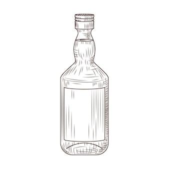 Bottiglia isolata su sfondo bianco. schizzo vintage contorno marrone da vicino.