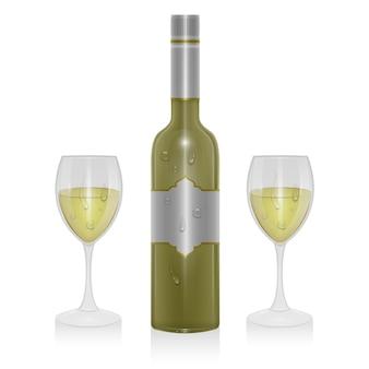 Bottiglia di vino leggero e un bicchiere di vino leggero isolato, illustrazione in stile realistico