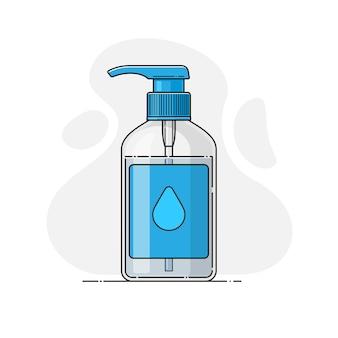 Bottiglia di sapone liquido, disinfettante, gel antibatterico alcolico
