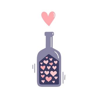 Una bottiglia di pozione d'amore. attributi per stregoneria e magia. illustrazione della mano di vettore isolata su fondo bianco