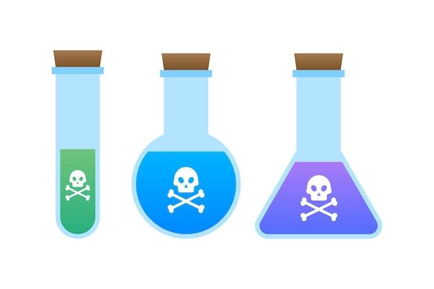 Bottiglia di veleno tossico acido magico con teschio. illustrazione di riserva di vettore