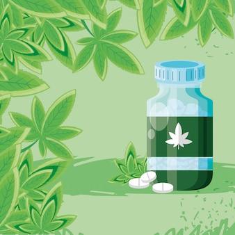 Bottiglia di medicina cannabis con foglie
