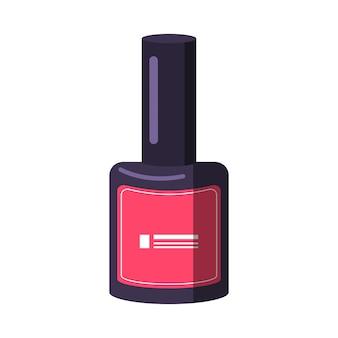 Una bottiglia di smalto per unghie. strumenti per manicure. prendersi cura della salute di mani e unghie. icone del salone di bellezza. illustrazione piana di vettore.