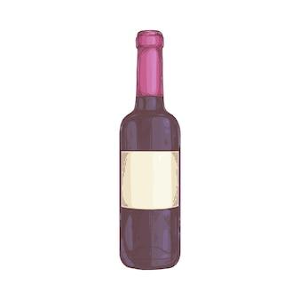 Una bottiglia di vino rosso naturale dell'uva con un'etichetta vuota
