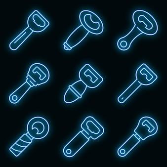 Set di icone apribottiglie. contorno set di icone vettoriali apribottiglie colore neon su nero