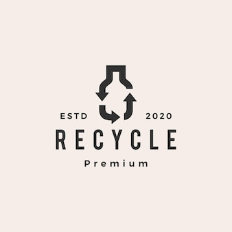 Bottiglia riciclare logo vintage hipster
