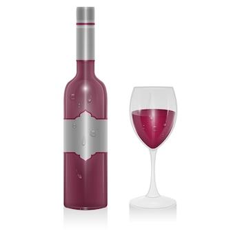 Bottiglia di vino rosso e un bicchiere di vino rosso isolato, illustrazione in stile realistico