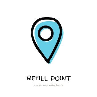 Simbolo del punto di ricarica della bottiglia, segno di bevanda aqua doodle logo vettoriale isolato su sfondo bianco