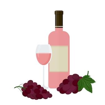 Bottiglia di vino rosato, bicchiere e uva. illustrazione vettoriale isolato su sfondo bianco.