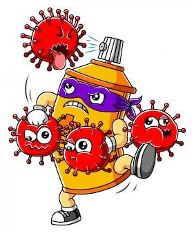 Bottiglia spray disinfettante per le mani lotta coronavirus