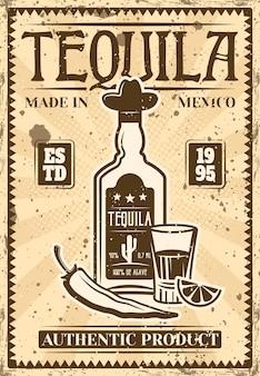 Bottiglia di tequila e vetro con fetta di lime e poster vintage di peperoncino per pubblicità di prodotti alcolici. illustrazione a strati con texture grunge e testo di esempio