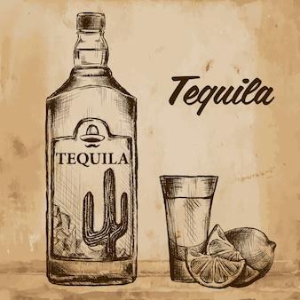 Bottiglia di tequila con lime e vetro. dipinto a mano