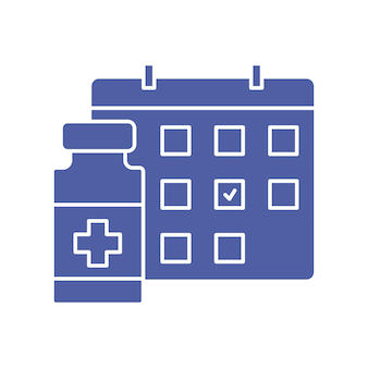 Bottiglia di vaccino e icona del calendario programma di vaccinazione tempo per vaccinare concetto di immunizzazione