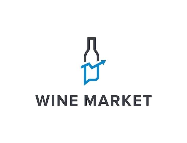 Bottiglia di vetro di vino con freccia in su mercato e bolla di chat delineano un semplice logo moderno design vettore
