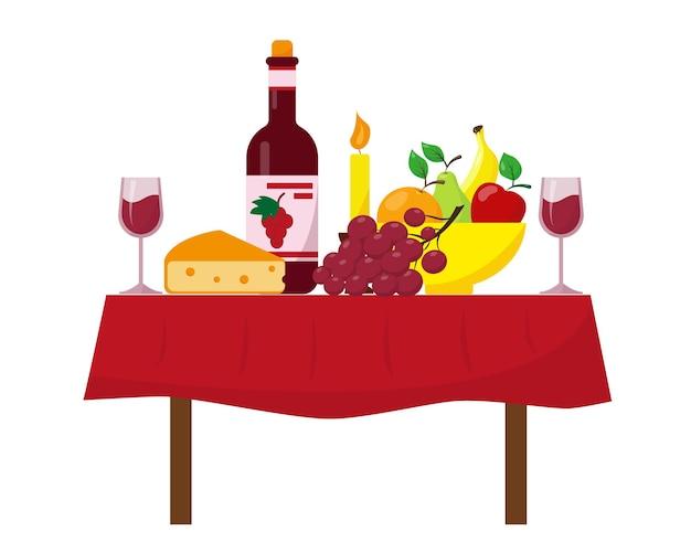 Bottiglia di vino, bicchieri, frutta e formaggio sul tadle. tavolo da pranzo festivo.