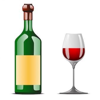 Bottiglia di vino in piedi con bicchiere di vino