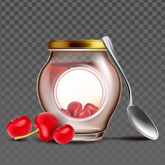 Bottiglia con marmellata di bacche di ciliegia e cucchiaio vector